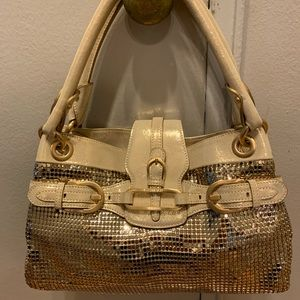 Jimmy choo metallic gold metal mesh handbag